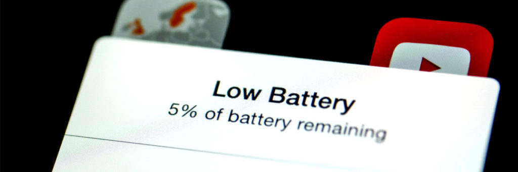 Low battery warning on a cell phone.