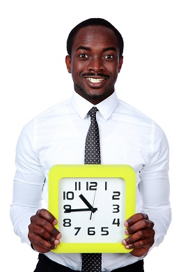 Business-owner holding a clock