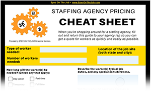 staffing agency price cheat sheet